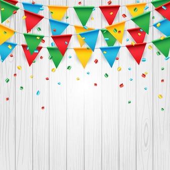 Party feier flagge auf weißem holz hintergrund