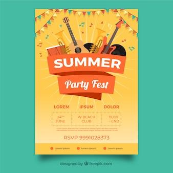 Party festival poster mit instrumenten
