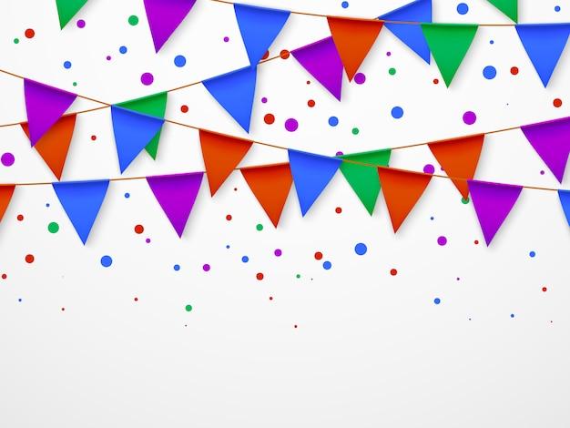 Party flag girlande mit konfetti. kindergeburtstag, zirkuskarneval fiesta einladung retro.