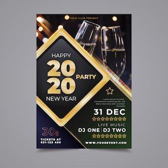Party-flugblattschablone des neuen jahres 2020 mit foto
