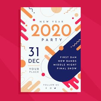 Party-flugblattschablone des neuen jahres 2020