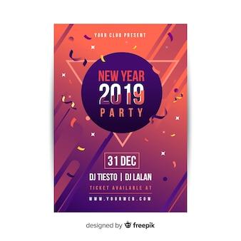 Party flyer des neuen jahres 2019