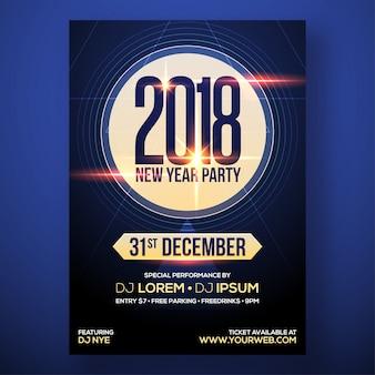 Party flyer für neujahrsfeier mit lens flare-effekt