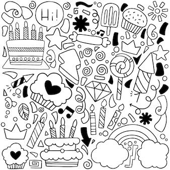Party gekritzel alles gute zum geburtstag grußkarte mit zeichnungselementen