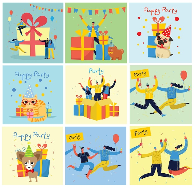 Party. glückliche gruppe von leuten, die auf einem hellen hintergrund springen. illustration in einem flachen stil
