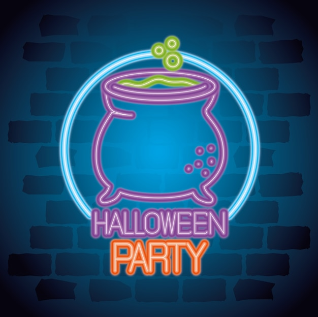 Party halloween leuchtreklame mit kesselhexe