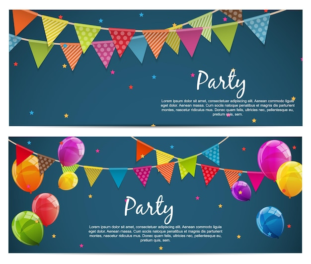Party-hintergrund-banner mit flaggen und luftballons-vektor-illustration
