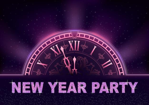 Party-hintergrund des neuen jahres in den purpurroten tönen mit uhrvorwahlknopf