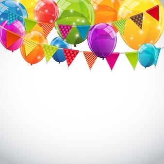 Party hintergrund mit fahnen und luftballons