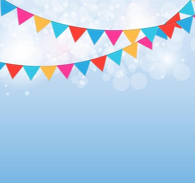 Party-hintergrund mit flaggen-illustration.