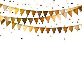 Party hintergrund mit flaggen und konfetti