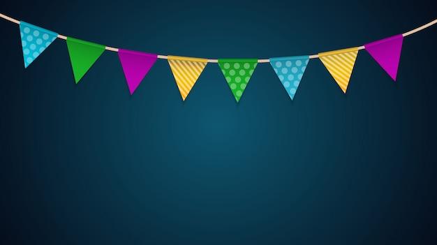 Party-hintergrund mit flaggen-vektor