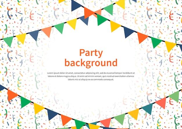 Party hintergrund mit girlanden und konfetti ammern