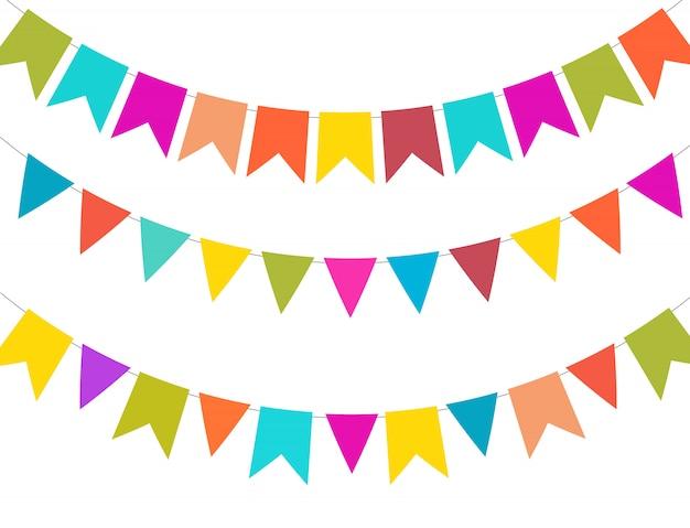 Party-hintergrund mit markierungsfahnen-vektorabbildung
