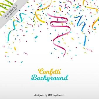 Party hintergrund mit streamer und farbigen konfetti