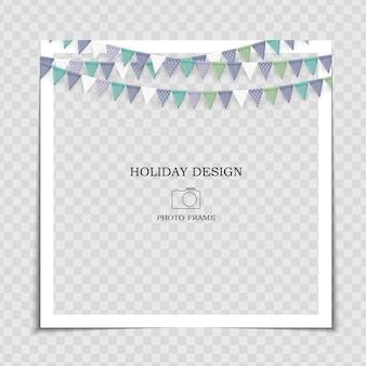 Party holiday fotorahmen vorlage mit flaggen für post in social network.