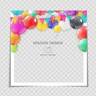 Party holiday fotorahmen vorlage mit luftballons für post in social network.