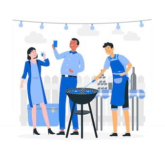 Party-illustration im freien