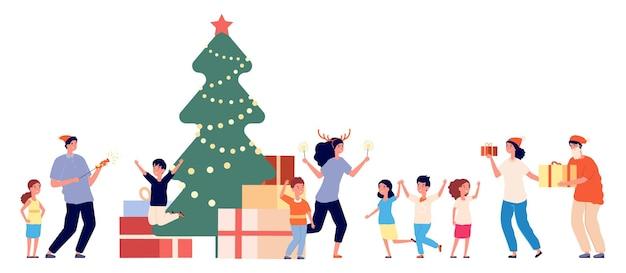 Party im waisenhaus. weihnachtsfest, waise und freiwillige. neujahrszeit, kinder in kindergartengeschenken. erwachsene und kinder feiern weihnachtsvektor. illustration weihnachten feiern, feier waisenhaus