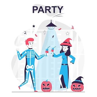 Party isoliertes cartoon-konzept mann und frau feiern halloween-getränk und haben spaß