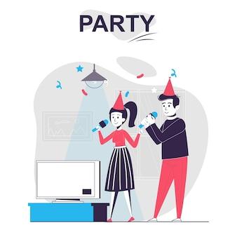 Party isoliertes cartoon-konzept mann und frau feiern urlaub, singen karaoke und haben spaß
