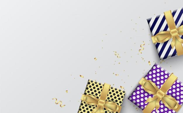 Party mit illustrationen von drei geschenkboxen auf einem weißen.