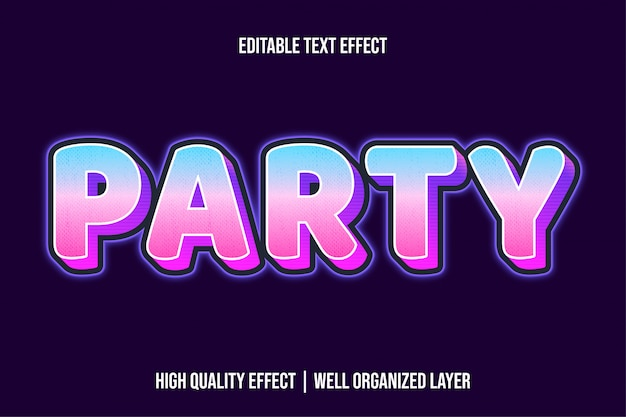 Party modern glowing text effekt stil