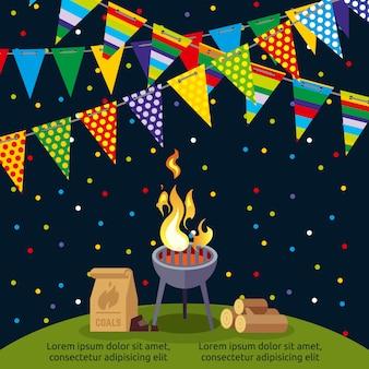 Party- oder bbq-plakatdesign mit bunten flaggen