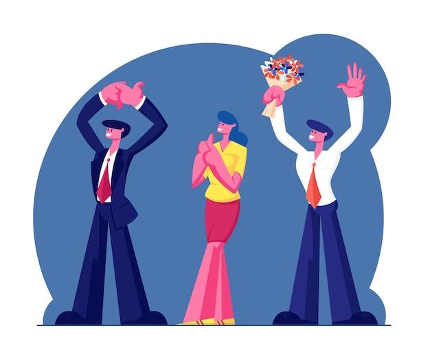 Party- oder jubiläumsfeier. karikatur flache illustration