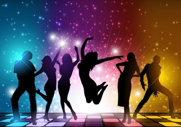 Party people hintergrund mit tanzenden silhouetten