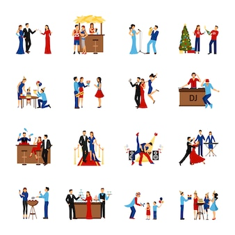 Party people icons set