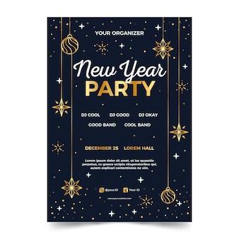 Party plakat vorlage des neuen jahres im umriss-stil