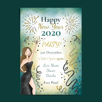 Party-plakatschablone des neuen jahres 2020 des aquarells