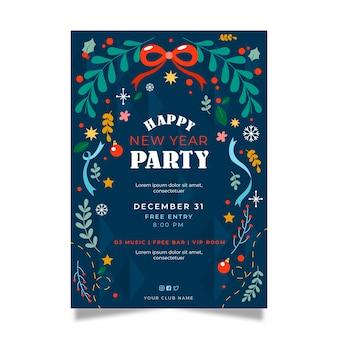 Party-plakatschablone des neuen jahres 2020 des flachen designs