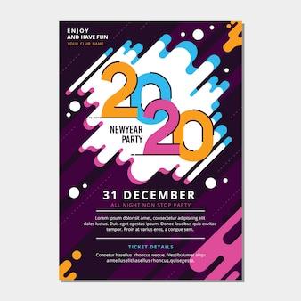 Party-plakatschablone des neuen jahres 2020 im flachen design