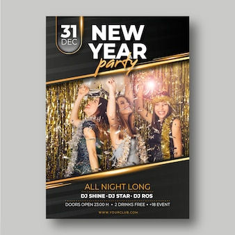 Party-plakatschablone des neuen jahres 2020 mit bild