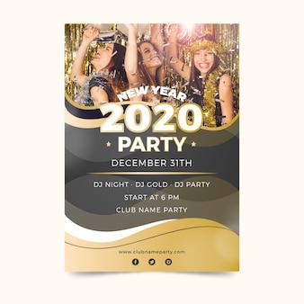 Party-plakatschablone des neuen jahres 2020 mit foto