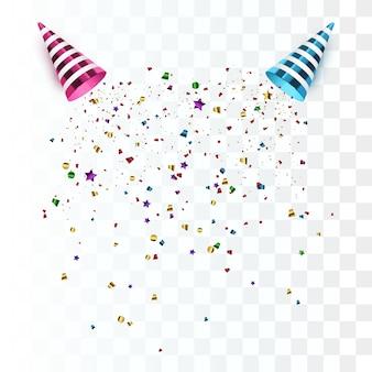 Party popper isoliert. vektor konfetti.