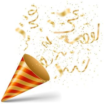 Party popper mit goldenem konfetti und serpantine-gruß, isoliert auf weiss. vektor-illustration. goldener cracker für feier-event-design. geburtstags- und neujahrsglückwünsche überraschen.