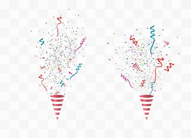 Party poppers und konfetti