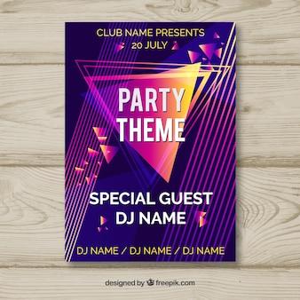 Party poster mit abstrakten stil