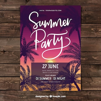 Party Poster mit Sommerpflanzen