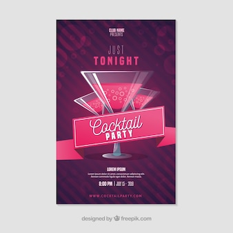 Party poster vorlage mit eleganten cocktails