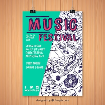 Party poster vorlage mit flachen design