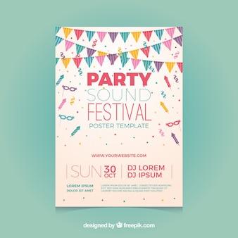 Party poster vorlage mit konfetti und fahnen