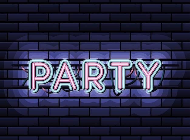 Party-schriftzug in neonschrift der rosa und blauen farbe auf dunkelblauem illustrationsdesign