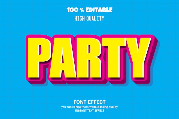 Party-text, bearbeitbarer font-effekt