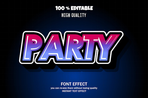 Party text, schrifteffekt