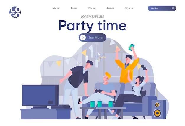 Party time landing page mit header. glückliche freunde, die spaß haben, reden und trinken, videospielszene spielen. die schüler entspannen sich und verbringen freudig zeit miteinander.