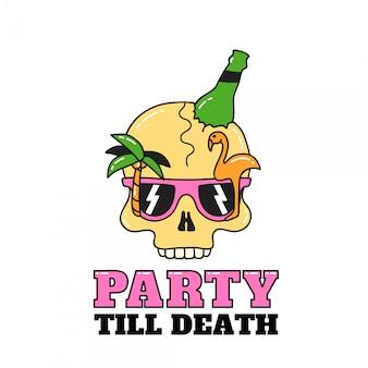 Party-totenkopf für flyer oder t-shirt. abbildung getrennt auf weiß